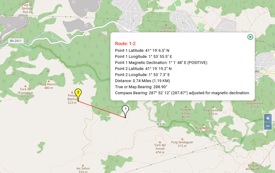 OpenStreetMap Compass route  information